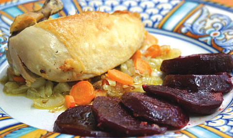 Chicken Breasts With Vegetable Stuffing and Glazed Beets. Photo by Dan Kacvinski