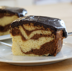 Passover Chocolate Marble Cake With Chocolate Glaze. Photo by Dan Kacvinski