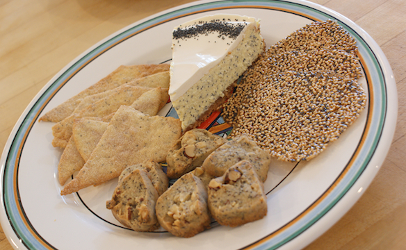 Clockwise from top: Poppy Seed Cheesecake, Purim Seed Crisps, Poppy Seed Hazelnut Cookies, Korjas (Crisp Poppy Seed Thins). Photo by Dan Kacvinski