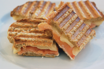 Cheese and smoked salmon panini (Photo by Dan Kacvinski)