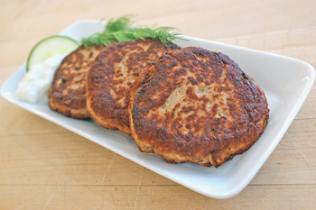 Salmon latkes. Photos by Dan Kacvinski.